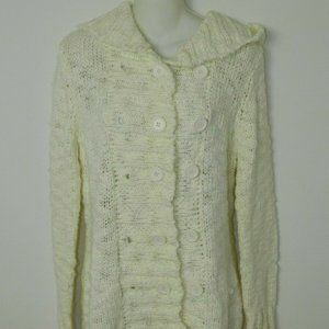 Takeout Sweater Cardigan Ivory Hooded Chunky Large
